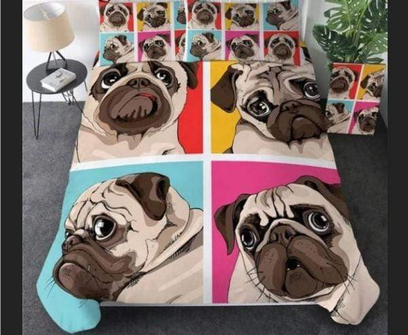 Sportyzen Bedding Set Four Pugs Duvet Cover Bedding Set  #274V