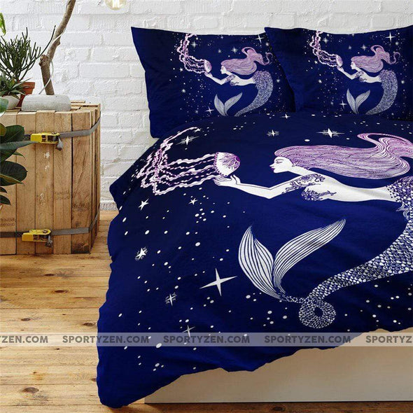 Sportyzen Bedding Set Galaxy Mermaid Duvet Cover Bedding Set #1305