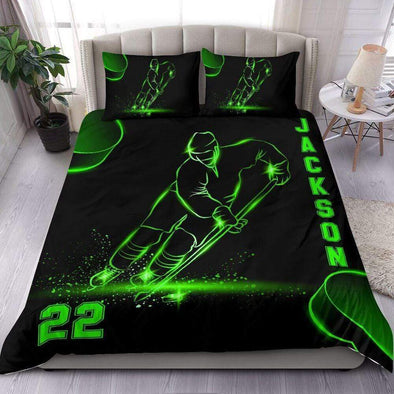 Sportyzen Bedding Set Hockey Custom Duvet Cover Bedding Set Neon with Your Name #1602L