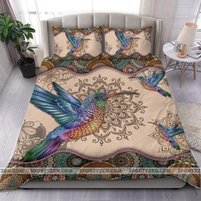 Sportyzen Bedding Set Hummingbird Mandala Duvet Cover Bedding Set #1405