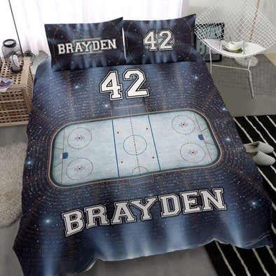 Sportyzen Bedding Set Ice Hockey Rink Custom Duvet Cover Bedding Set Stadium with Your Name #0603h