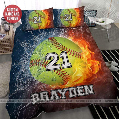 Sportyzen Bedding Set Softball On Fire Custom Duvet Cover Bedding Set with Your Name And Number #60420H