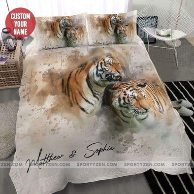 Sportyzen Bedding Set Tiger Custom Duvet Cover Bedding Set with Names #10420H