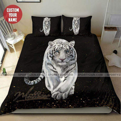 Sportyzen Bedding Set White Tiger Custom Duvet Cover Bedding Set with Names #2205L