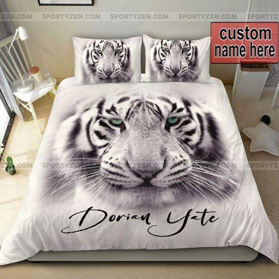 Sportyzen Bedding Set White Tiger Face Custom Duvet Cover Bedding Set With Your Name #28420V