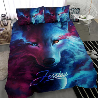 Sportyzen Bedding Set Wolf Colorful Custom Duvet Cover Bedding Set with Your Name #2803H