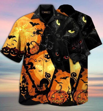 Halloween Black Cat Full Printing Hawaiian Aloha Shirts #V