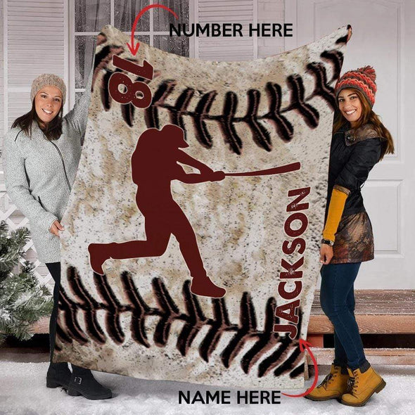 CN blanket BATTER / YOUTH (56x43 in/140x110 cm) Custom Blankets Baseball - LEATHER #211119L