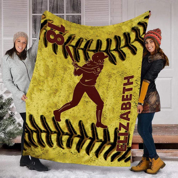 CN blanket BATTER / YOUTH (56x43 in/140x110 cm) Custom Blankets Softball - LEATHER #221119L