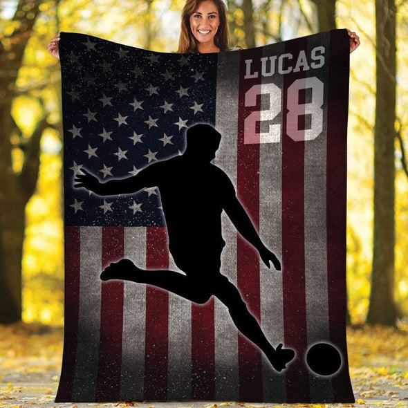 CN blanket BOY / X-LARGE (80x60 in/200x150 cm) Custom Blankets Soccer - Player With Flag #211119H