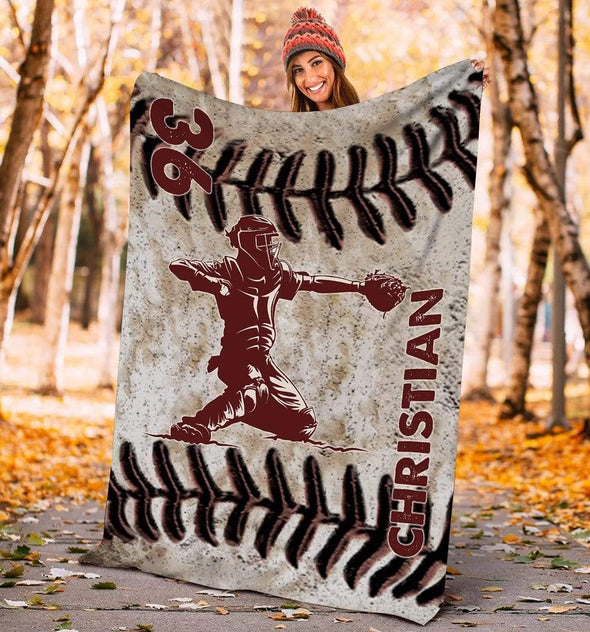 CN blanket CATCHER / YOUTH (56x43 in/140x110 cm) Custom Blankets Baseball - LEATHER #211119L