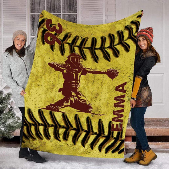 CN blanket CATCHER / YOUTH (56x43 in/140x110 cm) Custom Blankets Softball - LEATHER #221119L