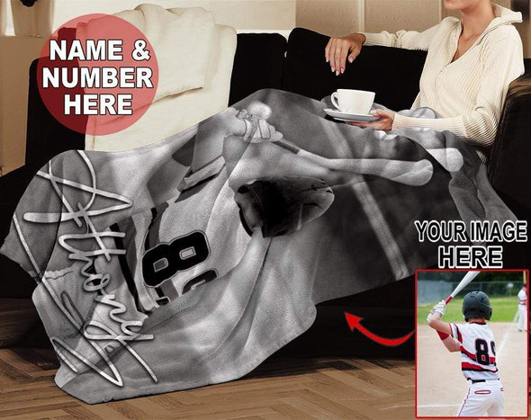 CN blanket Custom blanket Baseball player with Photo Black White #13220v