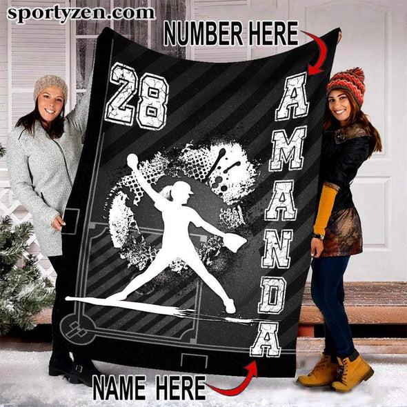 CN blanket Custom Blanket Softball Player at Home Plate #251219V