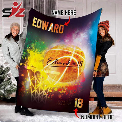 cn blanket Custom Blankets - Basketball - Colorful