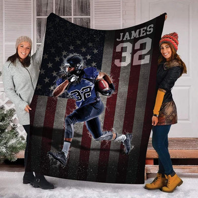 CN blanket Custom Blankets Football - American Flag #191119H