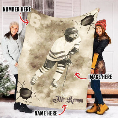 Custom Blankets Hockey With Your Photo & Name #CN161019H