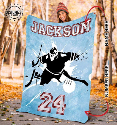 CN blanket Custom Blankets Hockey - Goalie Blue #271119L