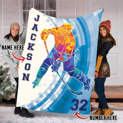 CN blanket Custom Blankets Hockey Watercolor #221019H