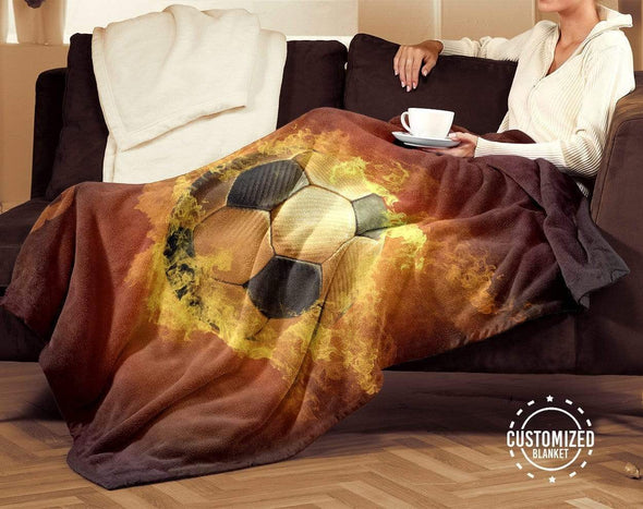 CN blanket Custom Blankets Soccer Fire Ball  - #CN261119L