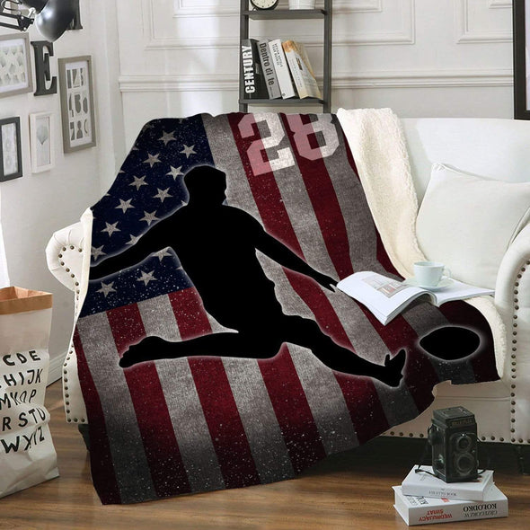 CN blanket Custom Blankets Soccer - Player With Flag #211119H