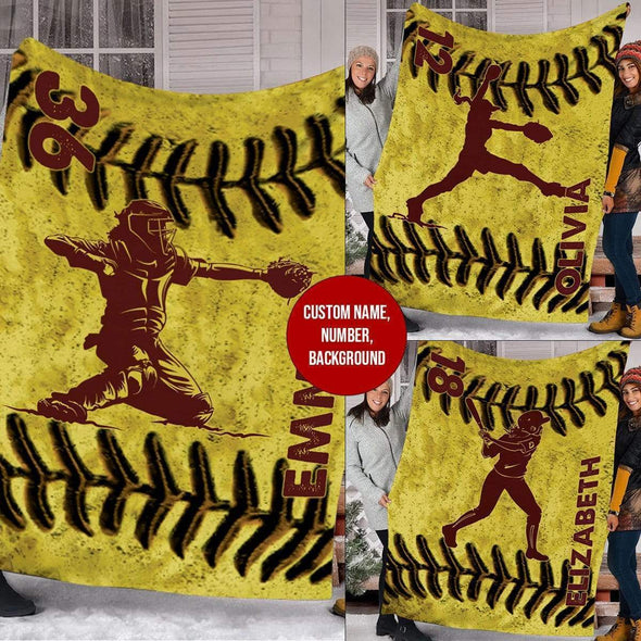 CN blanket Custom Blankets Softball - LEATHER #221119L