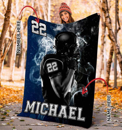 CN blanket Custom Football Blankets - Player Navy #191219L