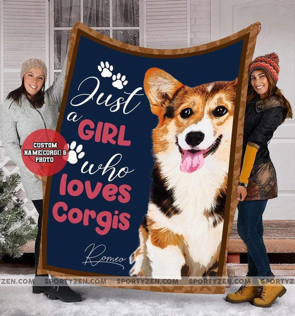 CN blanket Dog Custom Blankets Just A Girl with Name and Photo #310320L