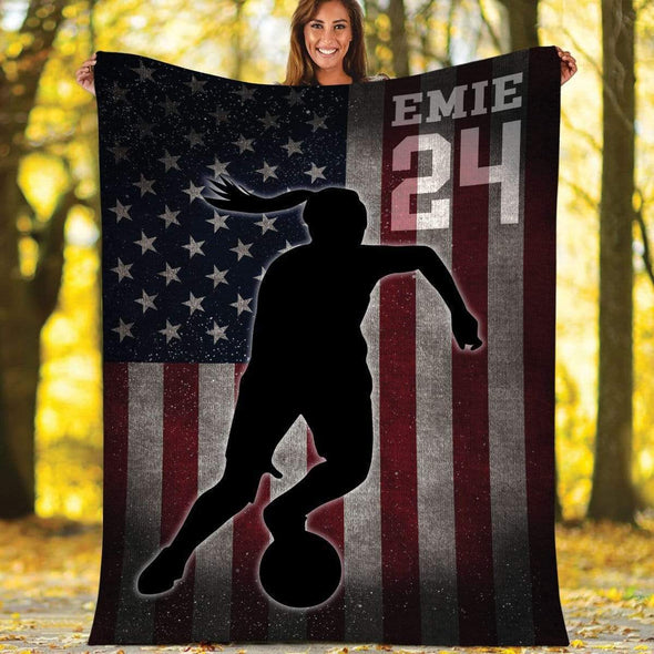 CN blanket GIRL / YOUTH (56x43 in/140x110 cm) Custom Blankets Soccer - Player With Flag #211119H