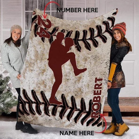 CN blanket PITCHER / YOUTH (56x43 in/140x110 cm) Custom Blankets Baseball - LEATHER #211119L