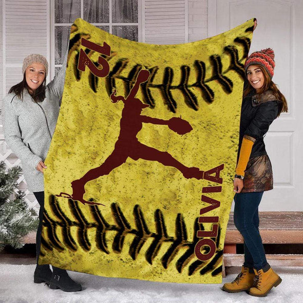 CN blanket PITCHER / YOUTH (56x43 in/140x110 cm) Custom Blankets Softball - LEATHER #221119L