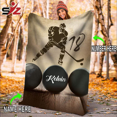 CN blanket Player / YOUTH (56x43 in/140x110 cm) Custom Blanket Hockey Player Goalie Blanket #181119V