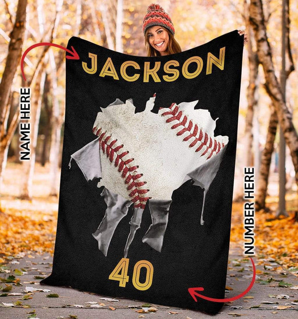 CN blanket YOUTH (110x140 cm) Custom Blankets Baseball Torn - #CN181119L