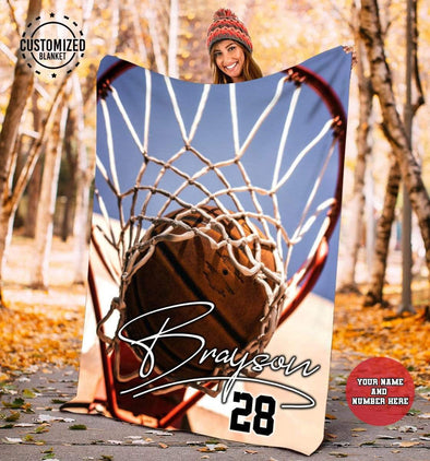 CN blanket YOUTH (110x140 cm) Custom Blankets Basketball Hoop & Ball  - #CN261119L
