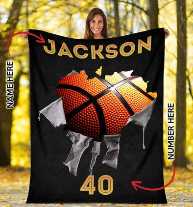 CN blanket YOUTH (110x140 cm) Custom Blankets Basketball Torn - #CN181119L