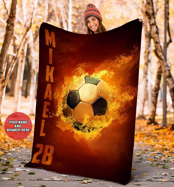 CN blanket YOUTH (110x140 cm) Custom Blankets Soccer Fire Ball  - #CN261119L