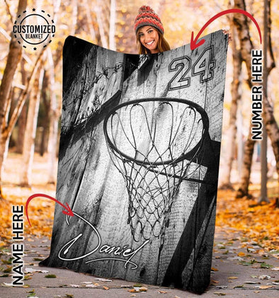 CN blanket YOUTH (56x43 in/140x110 cm) Custom Blankets Basketball Hoop Vintage  #CN231119L