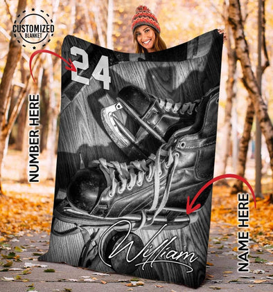 CN blanket YOUTH (56x43 in/140x110 cm) Custom Blankets Hockey Vintage  #CN231119L