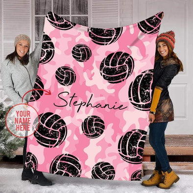 CN blanket YOUTH (56x43 in/140x110 cm) Custom Blankets VOLLEYBALL PINK - #CN071019L