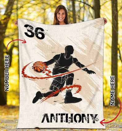 CN blanket YOUTH (56x43 INCHES/140x110 CM) Custom Blanket Basketball Player Flaming Dunk #081119L