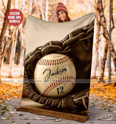 Baseball Ball In Glove Customized Name and Number Fleece Blanket #158l
