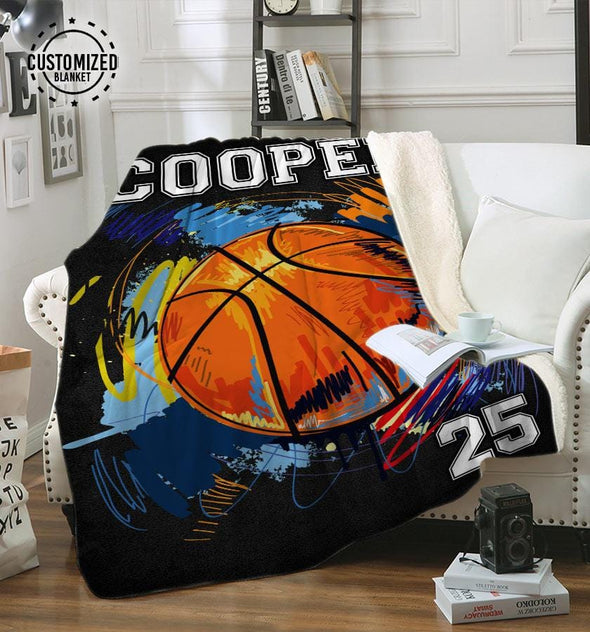 Basketball Player Customized Name and Number Fleece Blanket #0508L