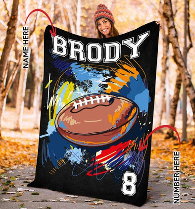 Football Player Customized Name and Number Fleece Blanket #0508L