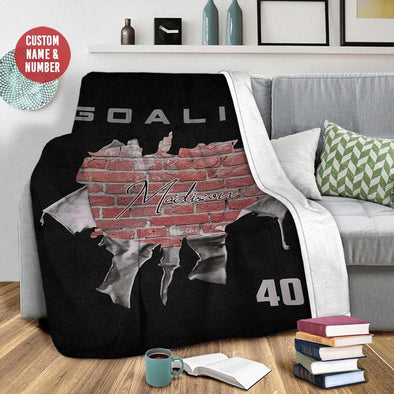 The Wall Hockey Goalie Custom Blanket With Your Name #49l
