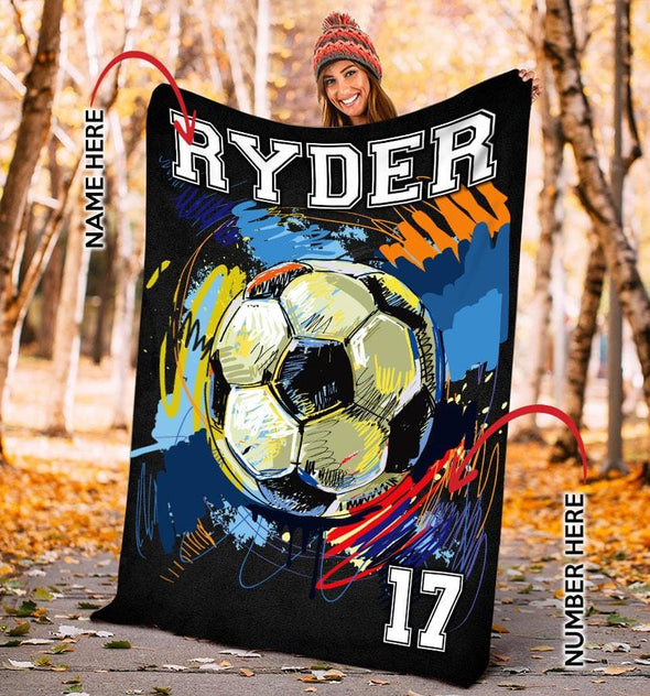 Soccer Player Customized Name and Number Fleece Blanket #0508L