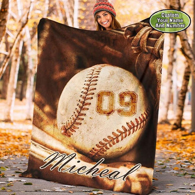 Baseball Vintage Ball Customized Name and Number Fleece Blanket #219dh