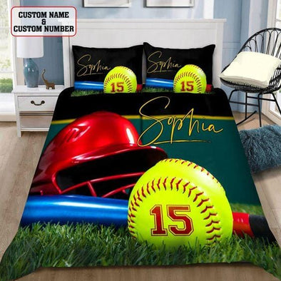 Softball Stuff Custom Duvet Cover Bedding Set with Your Name and Number
