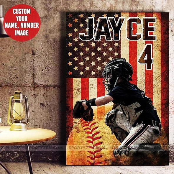Baseball Flag Custom Canvas Prints Player with Your Photo #214h
