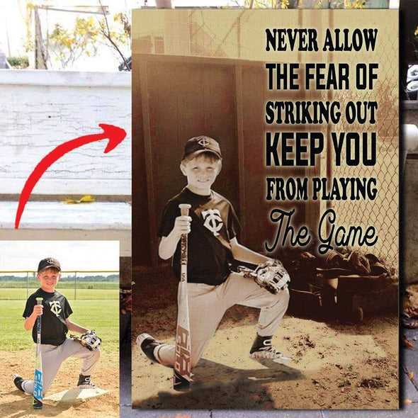 manual Canvas CANVAS - 12X18in Baseball custom canvas prints - Never Let The Fear #1010H