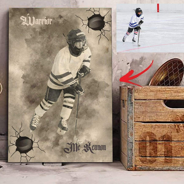 manual canvas CANVAS - 12X18in Custom Canvas Prints Hockey Player #121019H